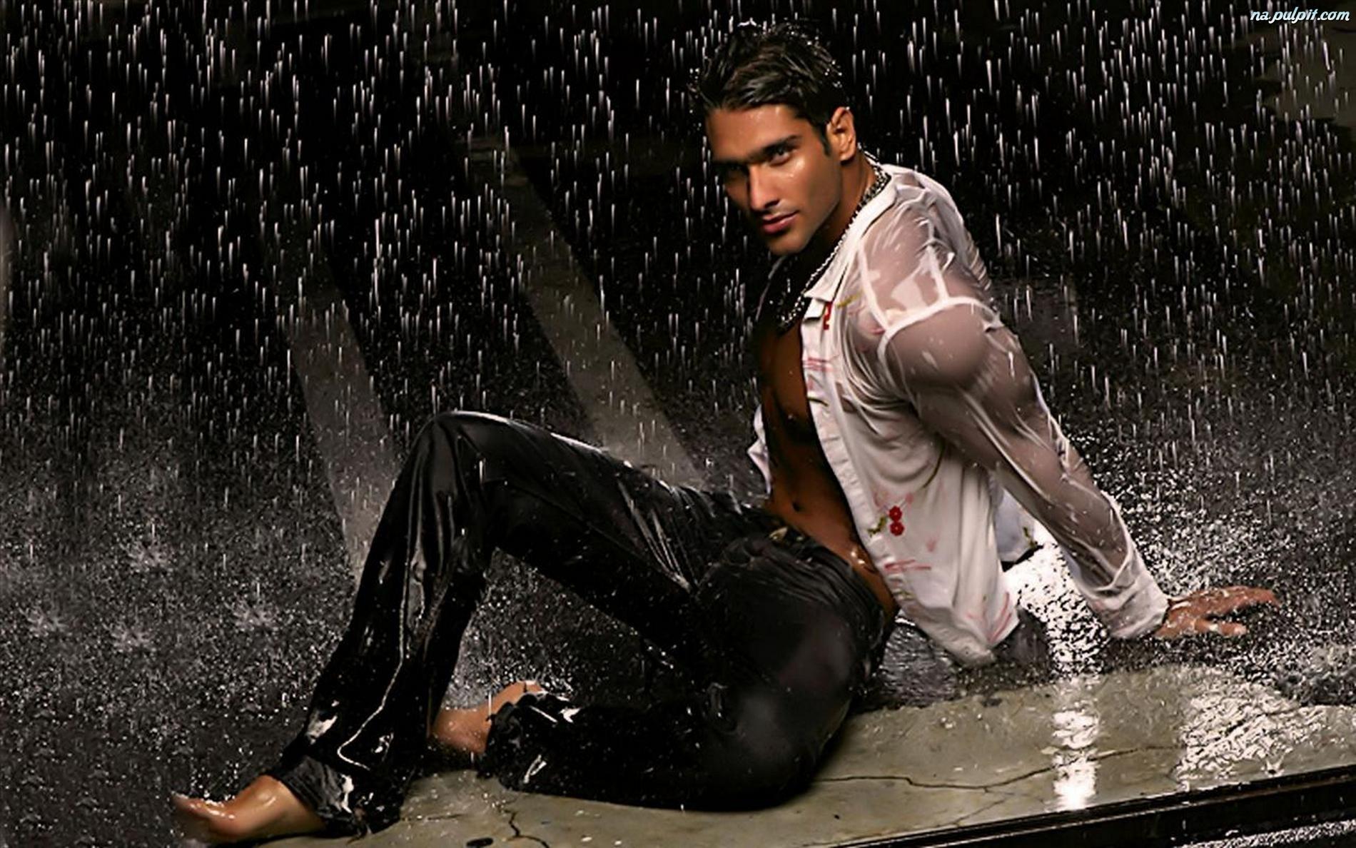 Deszczu, Mężczyzna, Seksowny, Strugi